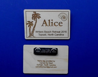Custom Name Tags Laser-engraved personalized name badges Magnetic name tags for conferences Wood name badges