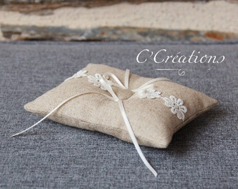 Ring pillow in linen and lace ivory Marguerite