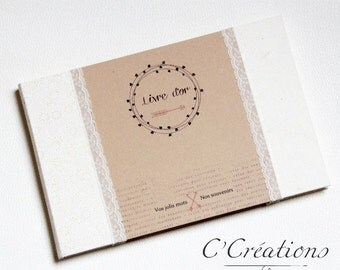Guestbook wedding { Bohemian } color brown, white and ivory