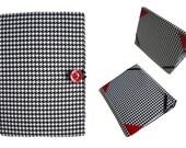 iPad Mini Case Stand, iPad Mini 2 Cover, iPad Mini 3 Hardcover Case, e-book e-Reader Cover, Houndstooth with Red Pocket