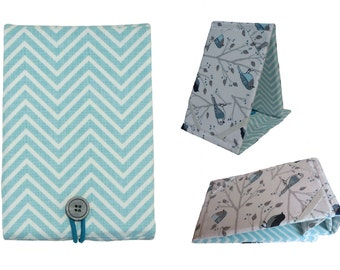 Kindle Paperwhite Cover, Kindle Paperwhite Case, Kindle Paperwhite Stand,  Blue Green Chevron