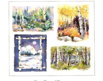 Aspen Birch Seasons  - Assorted Note Card Set of 8  - 2 each watercolor prints - Spring Summer Fall Winter