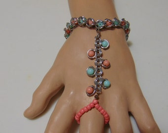 Slave Bracelet/Seafoam and Coral Colors/Convertible/ Adjusts to Fit/ Removable Stretch Ring Portion