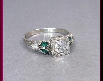 Antique Vintage Art Deco 18K White Gold Old European Cut Diamond Engagement Ring Wedding Ring