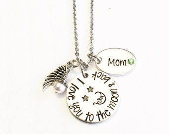 Memorial necklace - Hand stamped necklace - Loss necklace - Remembrance jewelry - Memorial necklace - I love you to the moon and back - Mom