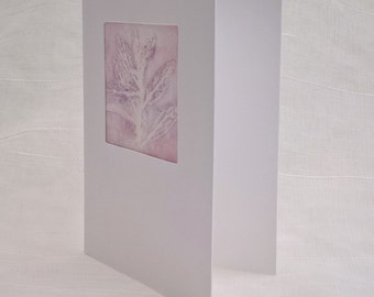 Handmade greeting card, monoprint on fabric, mauve garden leaves, white aperture card, fine art blank greetings card, lilac nature print UK