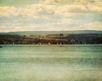 sailboat print, lake landscape, sailing scene, cottage decor, Canandaigua Lake, landscape photograph, vintage color, summer theme