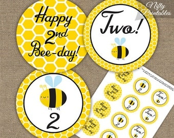 Bee 2nd Birthday Cupcake Toppers - Printable Bumble Bee 2nd Birthday Toppers  - Two Year Old Bumble Bee Party Decorations - BEE