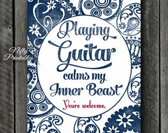 Guitar Art - INSTANT DOWNLOAD Guitar Print - Guitar Poster - Funny Guitar Wall Art - Guitar Gifts - Paisley Guitar Music Decor