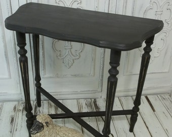 Accent Table Vintage Shabby Chic French Country Graphite Black Hallway Foyer