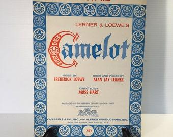 CAMELOT Sheet Music,Follow Me piano music,music from Camelot the Musical,musical piano music,vintage paper ephemera,movie music,piano song