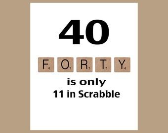 40th Birthday Card, 40 Birthday, Milestone Birthday, The Big 40, 1977 Birthday Card, Funny Birthday Card, Happy Birthday Card, Scrabble Card