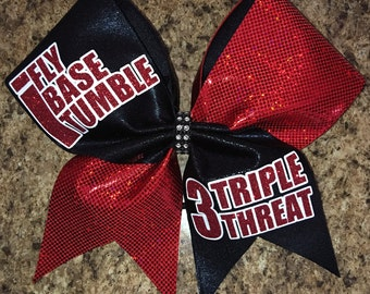 Triple Threat cheer bow, I base, I Fly, I Tumble Cheer Bows, cheerleading bow, cheer bow