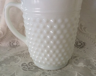 Large Vintage Milk Glass Hobnail Pitcher by Anchor Hocking