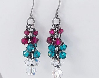 Ruby & Teal Crystals • Cluster Earrings • Great Gift Idea • Swarovski Crystals