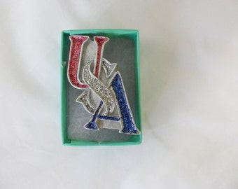Vintage USA Patriotic Pin 4th of July Jewelry Enamel Independence Day Fourth of July Jewelry Patriotic Jewelry Glitter Jewelry