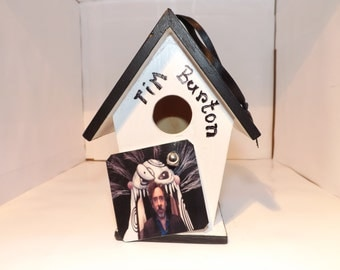 NEW !!!Tim Burton Tribute Birdhouse Ornament,Movie Ornament,Film Director,Nightmare Before Christmas, Burton Characters