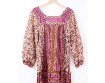 Vintage indin cotton dress (0009) indian cotton dress Ethnic dress Hippie dress Indian cotton