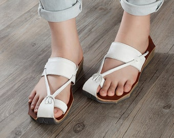 3 Colors! Handmade Shoes for Women, Leather Sandals, Leather Slippers, Flat Shoes,Personal Shoes