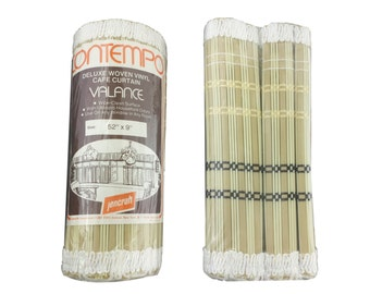 """Valance Cafe Curtain Woven Vinyl Vintage Window Treatment Bohemian Retro Faux Bamboo Wood Neutral Contempo Jencraft Made in Japan 52"""" x 9"""""""