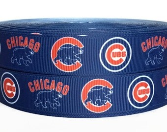 7/8 inch Grosgrain Chicago Cubs Baseball Ribbon By The Yard, Sports Ribbon, Sports Grosgrain, Baseball Ribbon by KC Elastic Ties