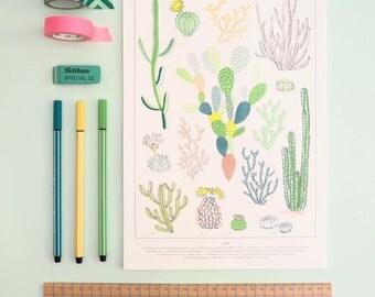 Cacti Varieties Print, Natural History cactus Illustration, Neon wall art