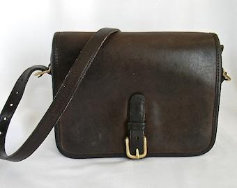 Vintage Coach NYC Mocha Leather Saddle Pouch Medium