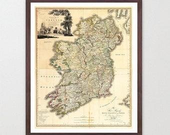 Ireland Map - Ireland - Ireland Art - Map Decor - Irish Art - Ireland Art - Ireland Decor - ...