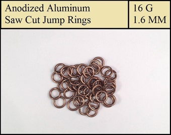 100 Coffee Brown Aluminum Jump Rings - 1.6mm = 16 gauge (SWG) = 14 gauge (AWG) wire - Anodized 5356 Aluminum - Saw Cut - On sale!!