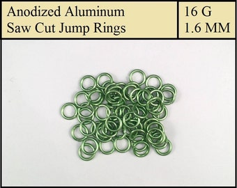 100 Light Green Aluminum Jump Rings - 1.6mm = 16 gauge (SWG) = 14 gauge (AWG) wire - Anodized 5356 Aluminum - Saw Cut - On sale!!