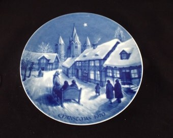 Royale Blue Winter China Midnight Mass at Kalundborg Church 1970 Christmas Plate, Vintage Collector, Gift under 10 Royal