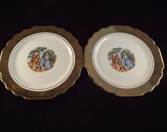 """2 Lido W.S George White  USA,  Gold rimmed  6.75"""" Gilded with Colonial Couple, Vintage Plates, Gift under 20"""