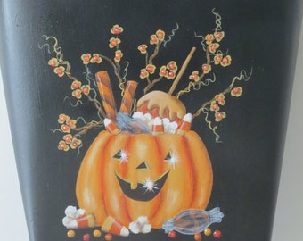 Hand painted metal wall pocket with Pumpkin, candy and bittersweet branches