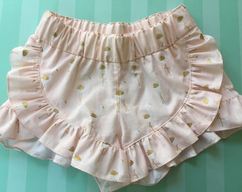 Flamingo Ruffled Shorts In Blush For Girls