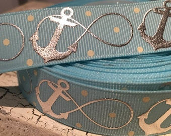 """7/8"""" Nautical silver hologram infinity anchoR on light blue"""