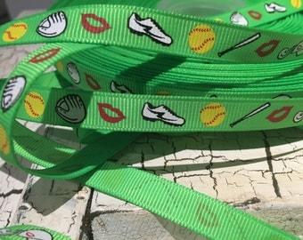 "3 yards 3/8"" Green Softball grosgrain ribbon"