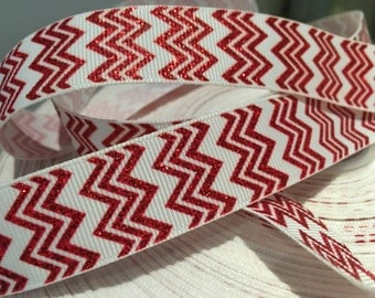 "3 yards 7/8"" Chevron Zig zag Christmas glitter grosgrain ribbon"