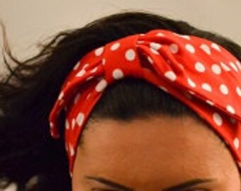 Red Headband,Polka Dot hairband, hairwrap, summer bandana, stretch cotton, red & white bow turban, gift for her, women turban fashion