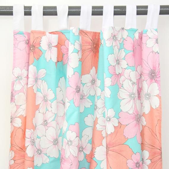 lola 39 s coral aqua floral curtain panels