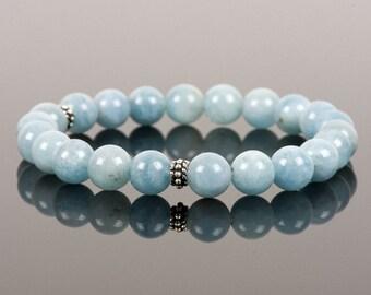 Aquamarine Bracelet, Genuine Natural Aquamarine Bracelet, Handmade Gemstone Jewelry, Gemstone Bracelet, Handmade Jewelry, Gemstone Jewelry