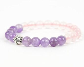 Amethyst Rose Quartz Flower Bracelet, Purple Bracelet, Handmade Gemstone Jewelry, Gemstone Bracelet, Handmade Jewelry, Gemstone Jewelry