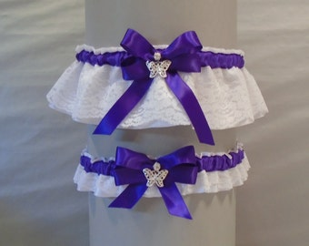 Wedding Garter Set Regal Purple on White or Ivory Lace & Satin, with Bow and Butterfly Charms (May also be purchased individually) DX/BF