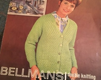Vintage 1960s Bellmans Knitting Pattern- Women's Cardigan-GC