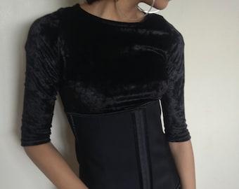 Vtg 90's GOTH WITCHY black boned waist cincher corset M