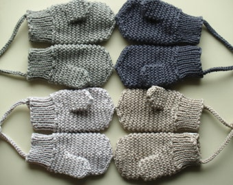 Merino Wool mittens for toddler/ children. Hand Knit for boys, girls, Grey mittens with(out) string. More colors. Size 6-12M,1-3-6-10Y