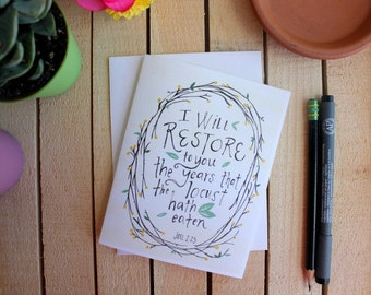 Greeting Card - Joel 2:25 - Restoration - Encouragement Card - Bible Verse