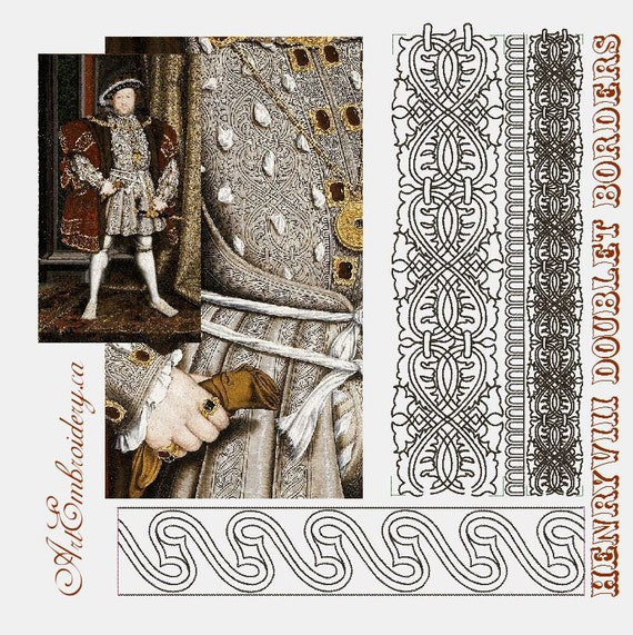 Henry Viii Doublet Borders Embroidery Designs Set From