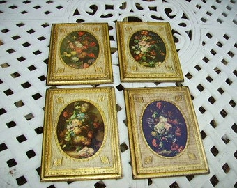 Vintage italian Florentine Gilt Wood Wall Plaques Set of 4 Made in italy