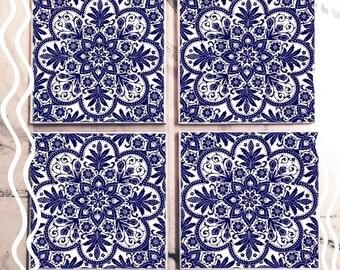 Blue Mosaic Tile Coaster Set