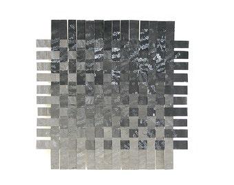 Ombre Paper Weaving- Black, Grey- Original Mixed Media- 9x9- Watercolor, Acrylic, Colored Pencil